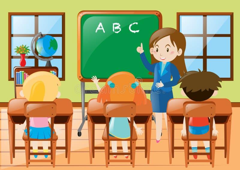 Estudiantes de enseñanza de la guardería del profesor en clase stock de ilustración