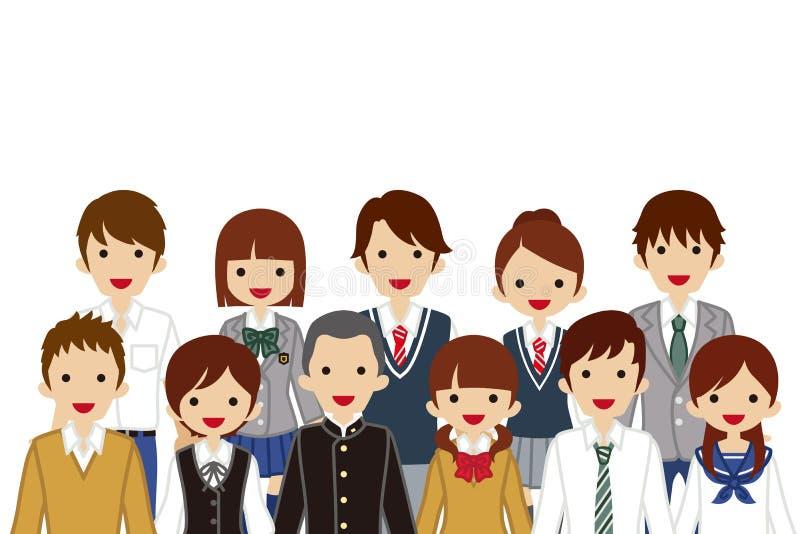 Estudiantes de junta de la High School secundaria, cintura para arriba libre illustration