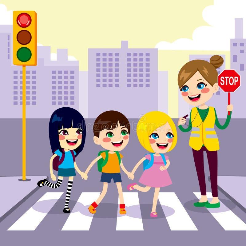 Estudiantes de la escuela que cruzan la calle stock de ilustración
