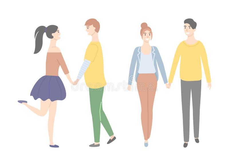 Estudiantes de la historieta en varón del amor y carácter femenino libre illustration