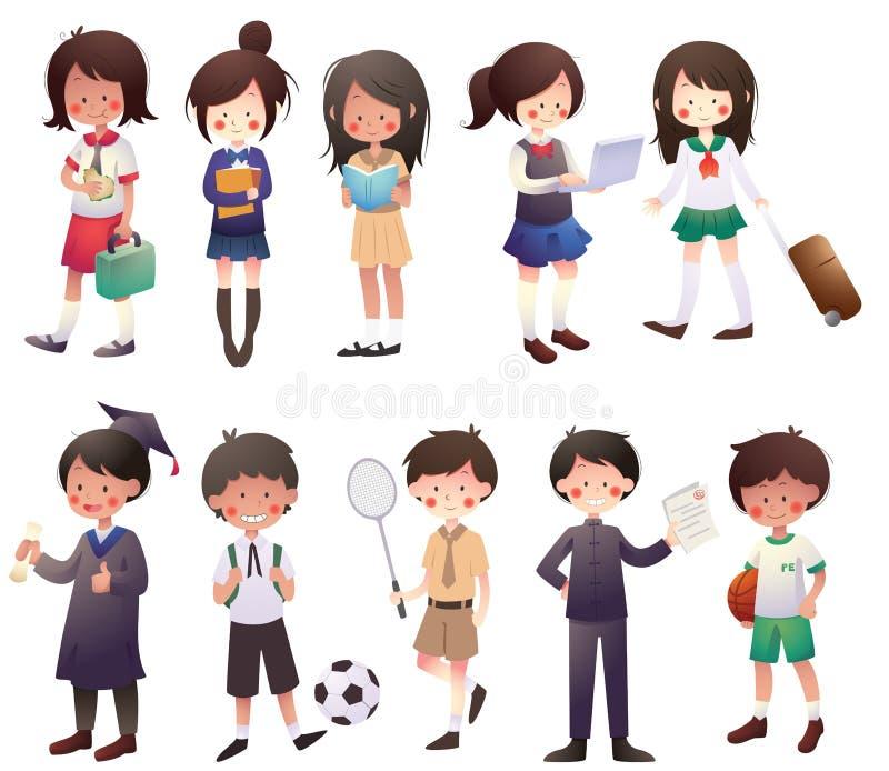 Estudiantes de la historieta fijados libre illustration