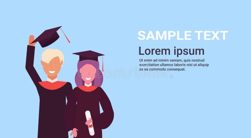 Estudiantes de la muchacha y del muchacho del concepto de la graduación que se unen en retrato hembra-varón feliz de los personaj libre illustration