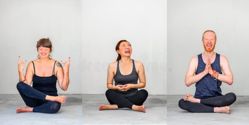 Estudiantes de la yoga que muestran diversas actitudes de la yoga imagen de archivo libre de regalías
