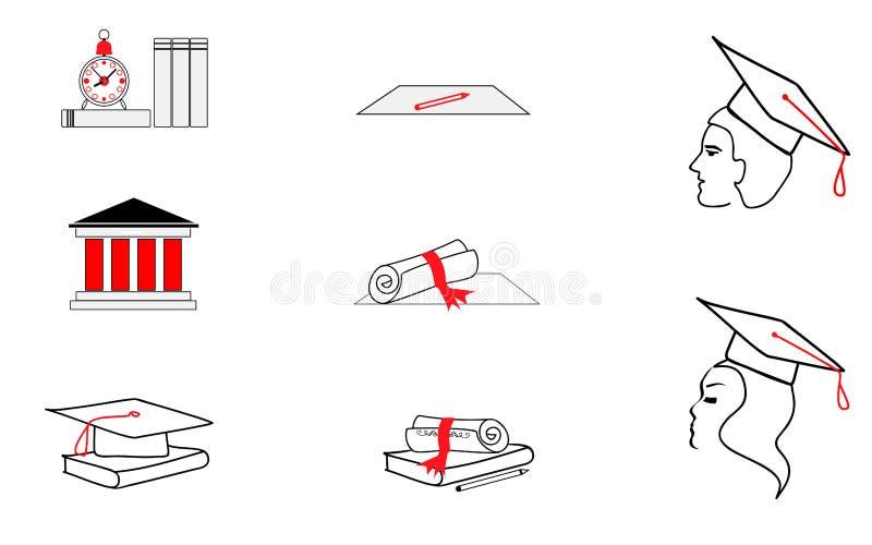 Estudiantes de los exámenes de los iconos Exámenes y la universidad Vector libre illustration