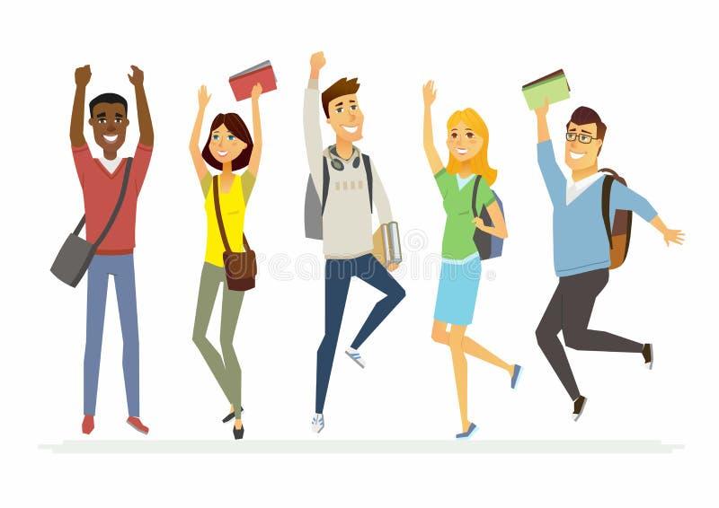 Estudiantes de salto felices de la escuela mayor - los caracteres de la gente de la historieta aislaron el ejemplo ilustración del vector
