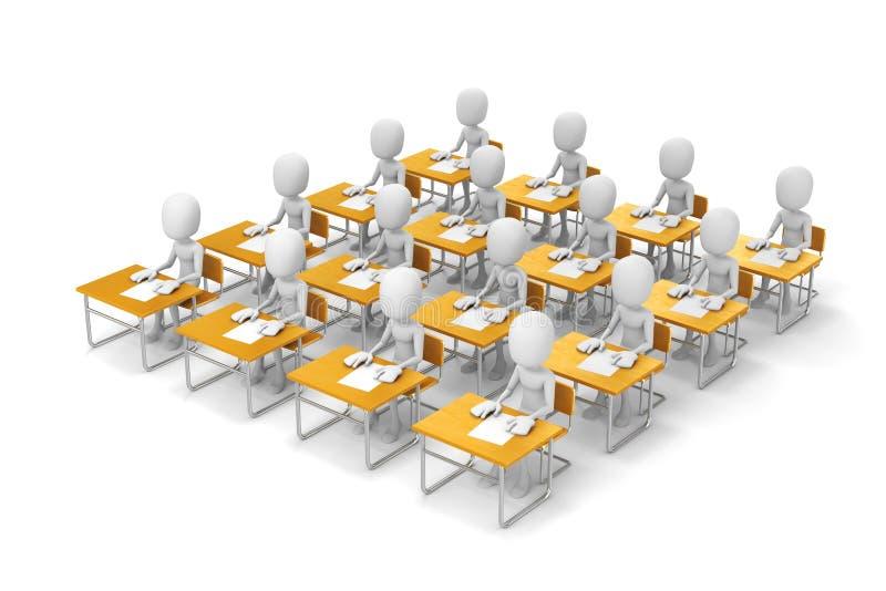estudiantes del hombre 3d en sala de clase stock de ilustración