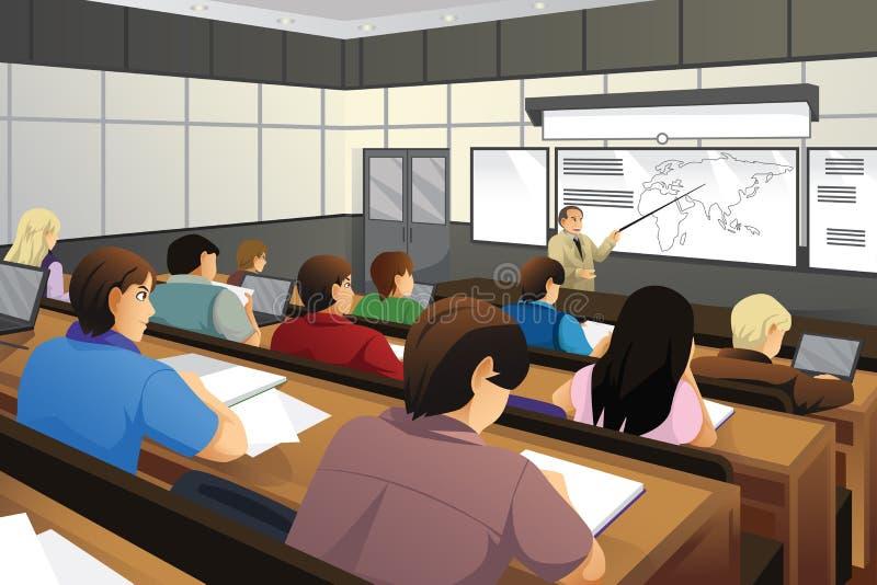 Estudiantes en la sala de clase ilustración del vector