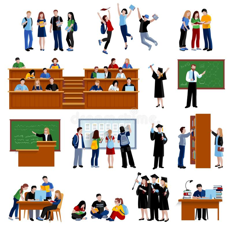 Estudiantes en la universidad ilustración del vector