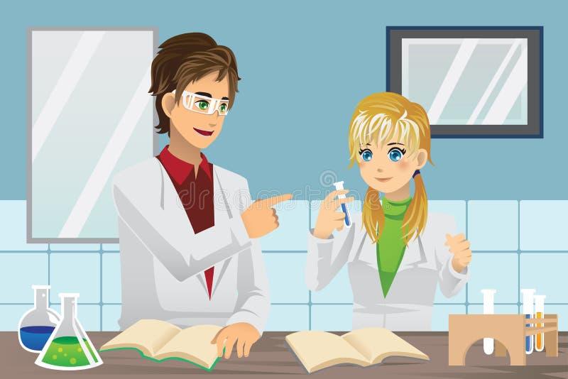 Estudiantes en laboratorio stock de ilustración