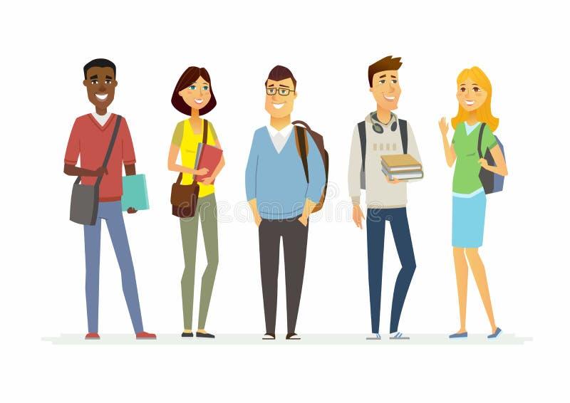Estudiantes felices de la escuela mayor - los caracteres de la gente de la historieta aislaron el ejemplo stock de ilustración