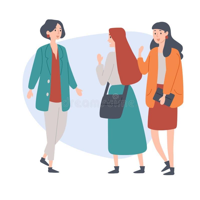 Estudiantes femeninos Gente joven que habla el uno al otro Discusi?n, peque?a charla stock de ilustración