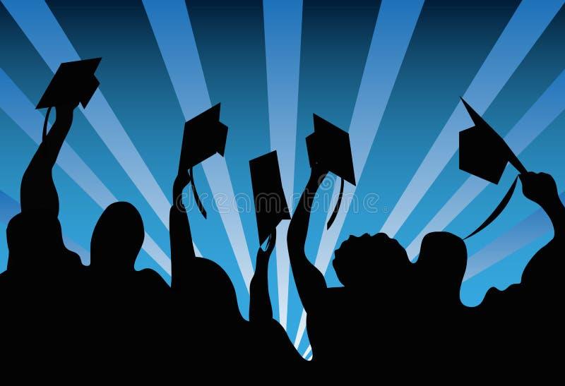 Estudiantes graduados en el día de graduación stock de ilustración