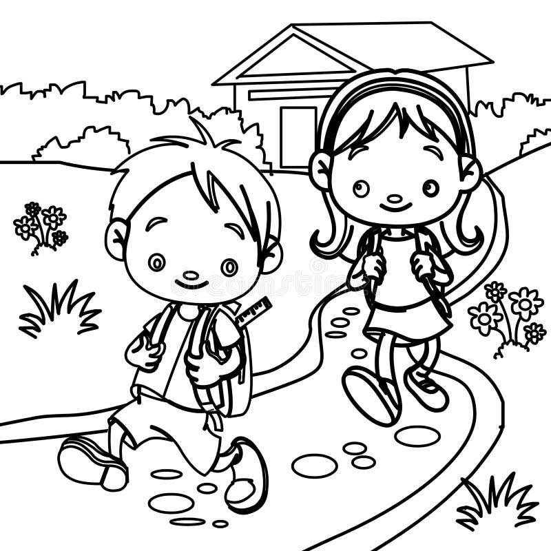 Estudiantes jovenes que colorean la página ilustración del vector