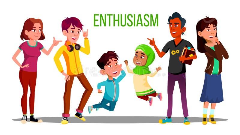 Estudiantes multiétnicos entusiastas, adultos, caracteres del vector de los niños stock de ilustración