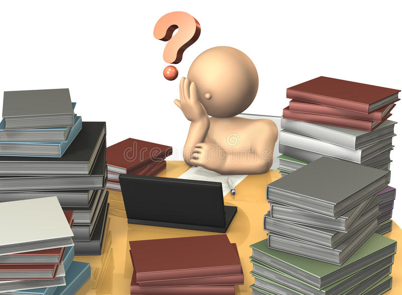 Estudiantes para considerar el tema difícil stock de ilustración