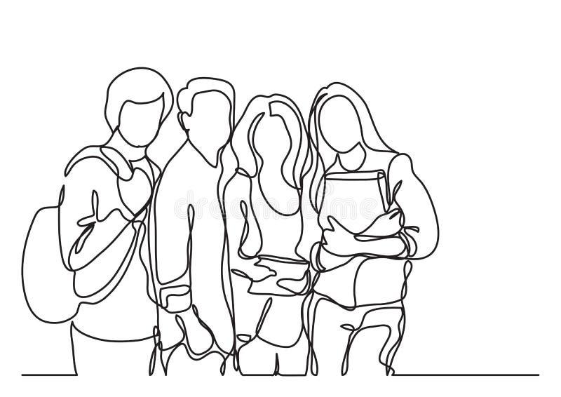 Estudiantes permanentes - dibujo lineal continuo stock de ilustración