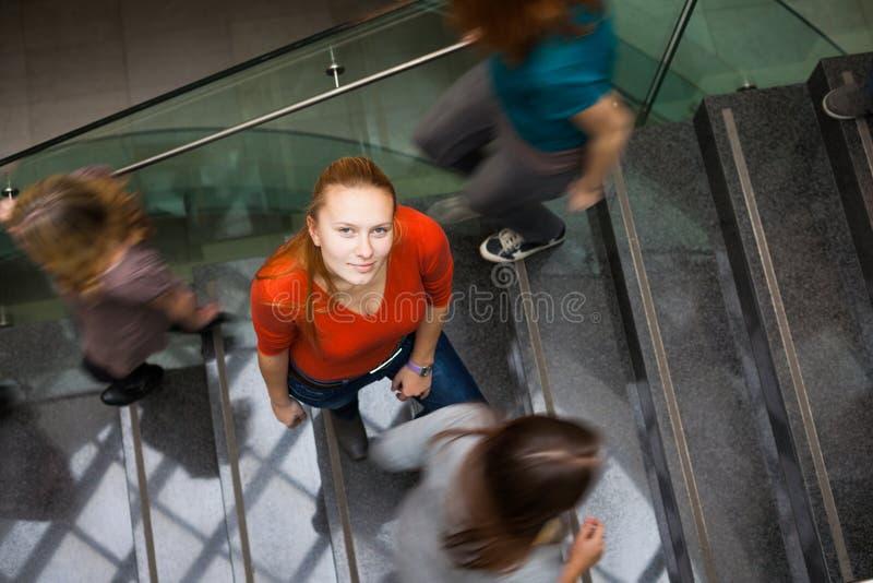 Estudiantes que acometen arriba y abajo de una escalera ocupada imagenes de archivo
