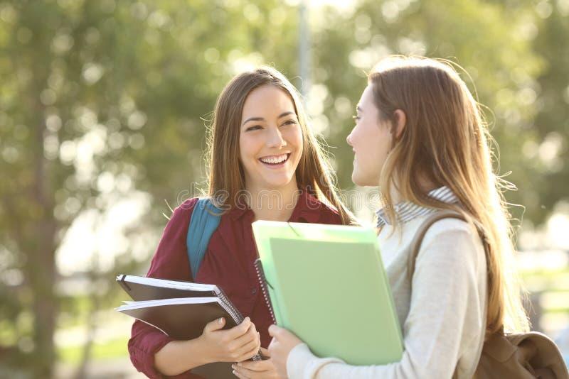 Estudiantes que caminan y que hablan en un campus imagen de archivo libre de regalías