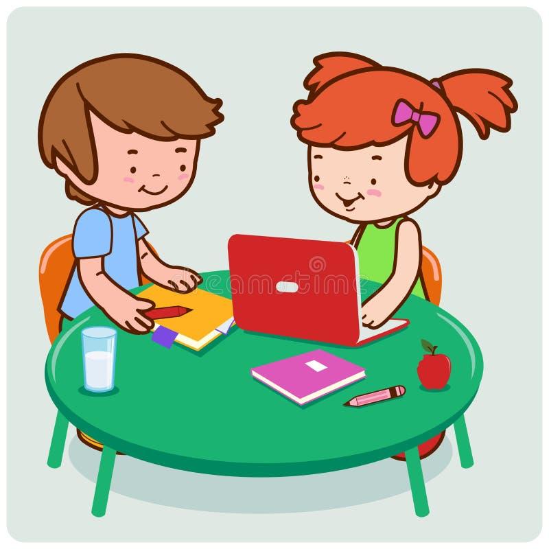 Estudiantes que hacen la investigación y el estudio stock de ilustración