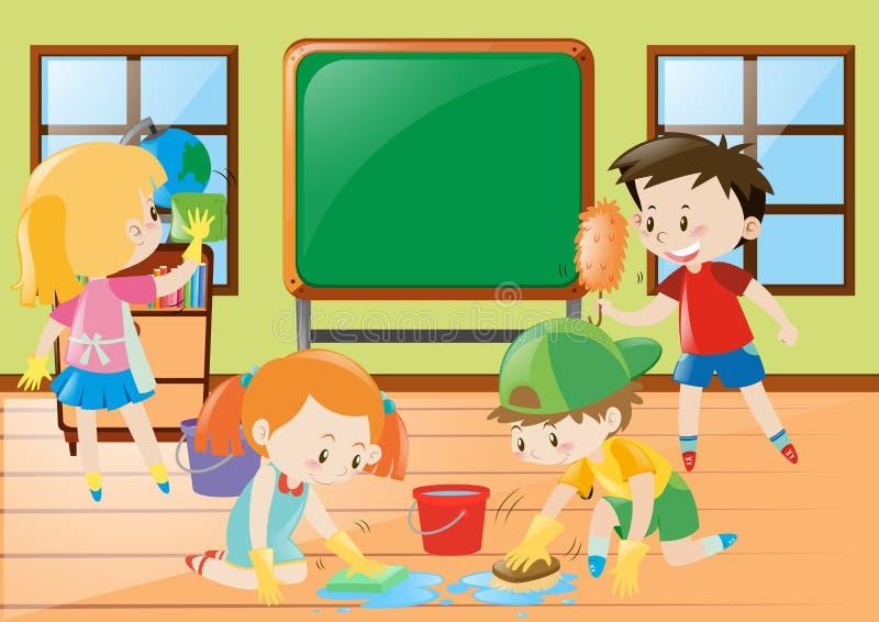 Estudiantes que limpian la sala de clase junto ilustración del vector