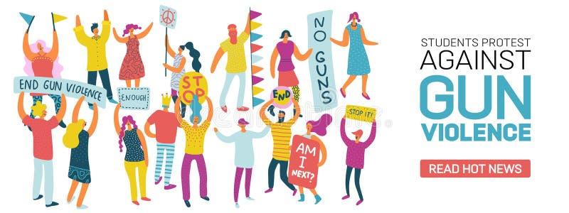 Estudiantes que protestan contra violencia armada ilustración del vector