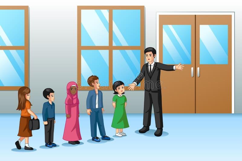 Estudiantes que se alinean fuera de la sala de clase con el profesor libre illustration