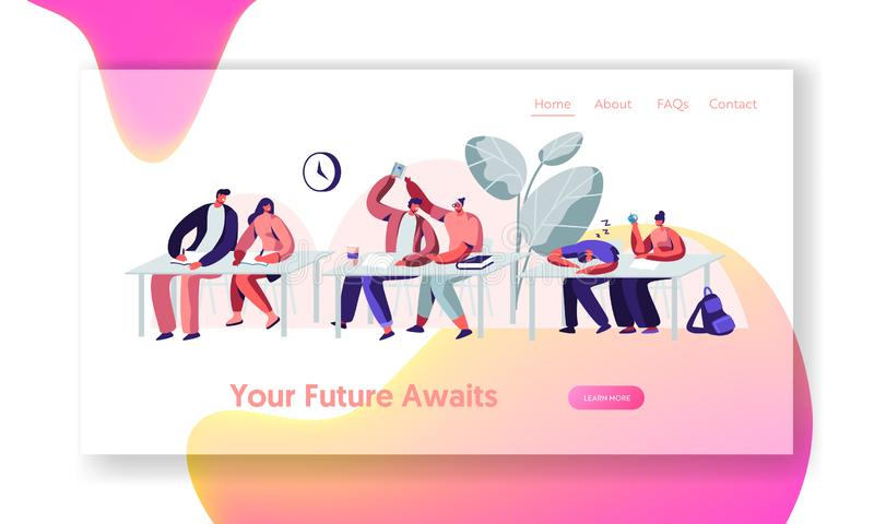 Estudiantes que se sientan en los escritorios en conferencia en universidad Aprendizaje, comunicando, durmiendo en seminario Una  libre illustration