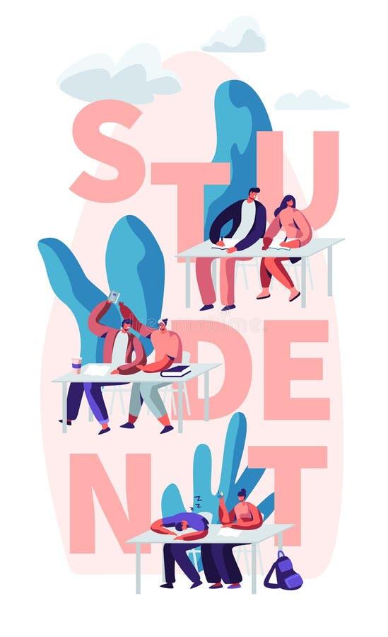 Estudiantes que se sientan en los escritorios que visitan conferencia en concepto de la universidad Aprendizaje de los caracteres libre illustration