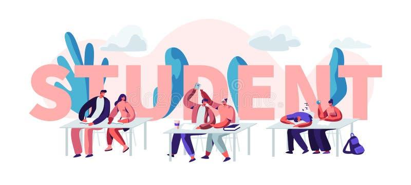 Estudiantes que se sientan en los escritorios que visitan conferencia en concepto de la universidad Aprendizaje de los caracteres ilustración del vector