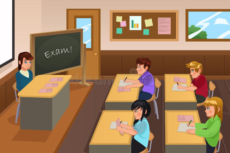 Estudiantes que toman un examen stock de ilustración