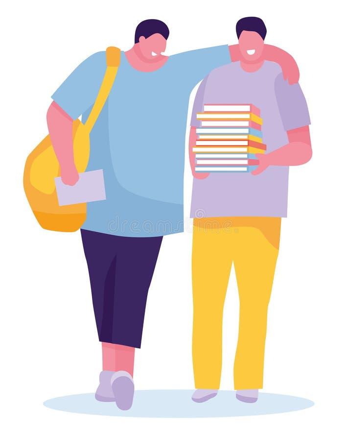 Estudiantes sonrientes jovenes con los libros Aislado sobre el fondo blanco Gente joven alegre con las mochilas y los libros libre illustration