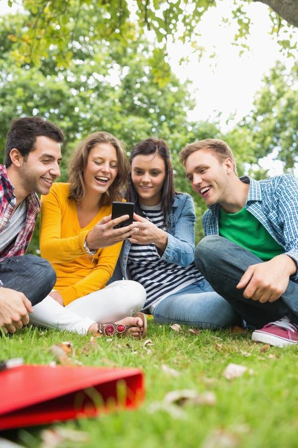 Estudiantes universitarios felices que miran el teléfono móvil en parque imagen de archivo libre de regalías