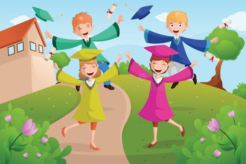 Estudiantes universitarios que celebran la graduación stock de ilustración