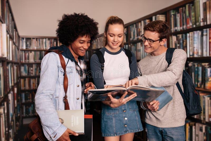 Estudiantes universitarios que estudian junto en biblioteca fotografía de archivo