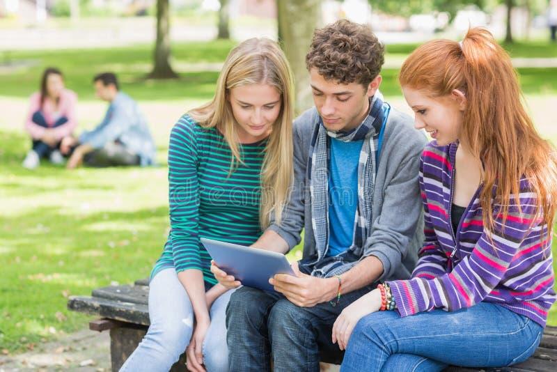 Estudiantes universitarios que usan la tableta en parque fotografía de archivo