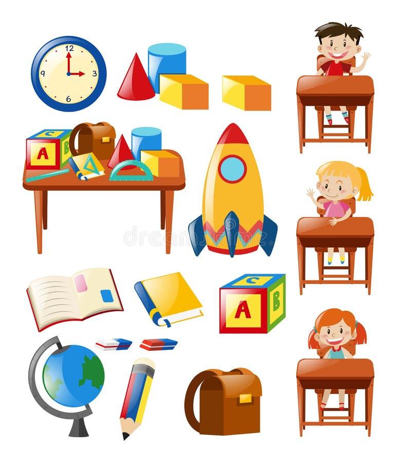 Estudiantes y objetos de la escuela fijados stock de ilustración