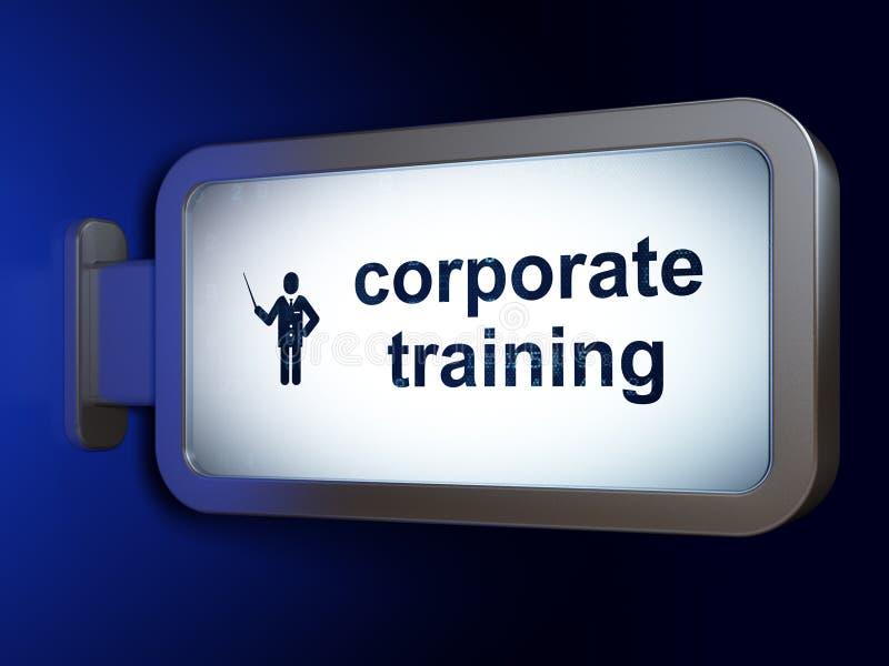 Estudiar concepto: Entrenamiento corporativo y profesor en fondo de la cartelera stock de ilustración