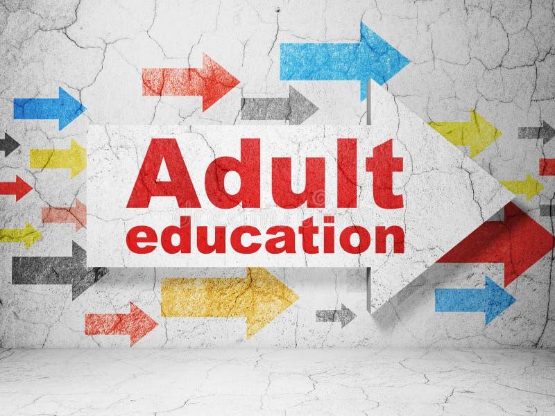 Estudiar concepto: flecha con la enseñanza para adultos en fondo de la pared del grunge stock de ilustración