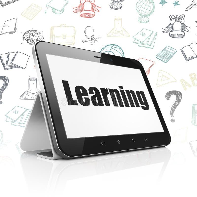 Estudiar concepto: Tableta con el aprendizaje en la exhibición ilustración del vector