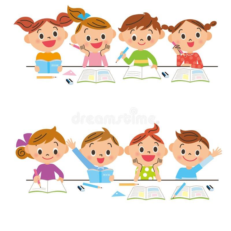 Estudiar a niños ilustración del vector