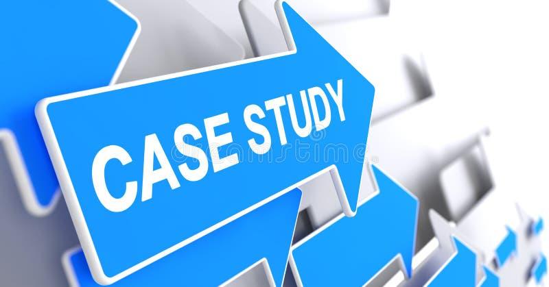 Estudio de caso - inscripción en el indicador azul 3d stock de ilustración