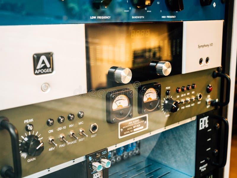 Estudio de grabación de la música del audio y del apogeo del JDK foto de archivo libre de regalías