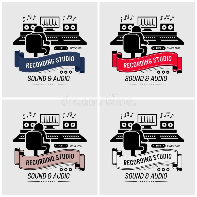 Estudio de grabación y diseño sano del logotipo que dirige ilustración del vector