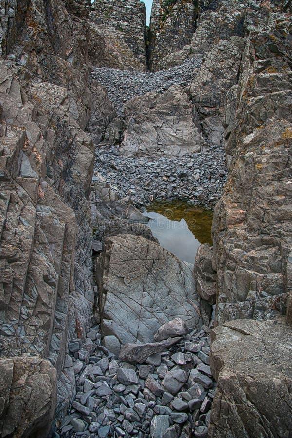 Estudio de la roca y de formaciones minerales, Northumberland y fronteras escocesas fotografía de archivo
