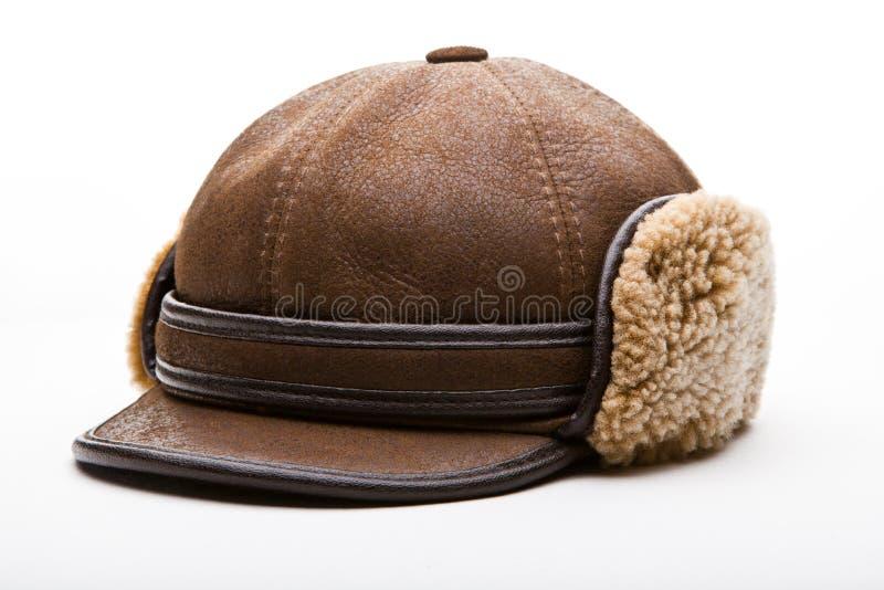 Estudio de la textura de las lanas del sombrero del invierno del cuero de Brown imagen de archivo libre de regalías
