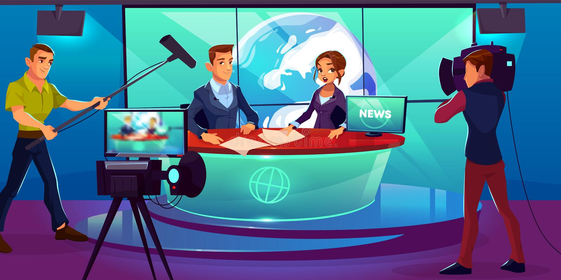 Estudio de la TV, presentadores de la televisión que divulgan noticias libre illustration