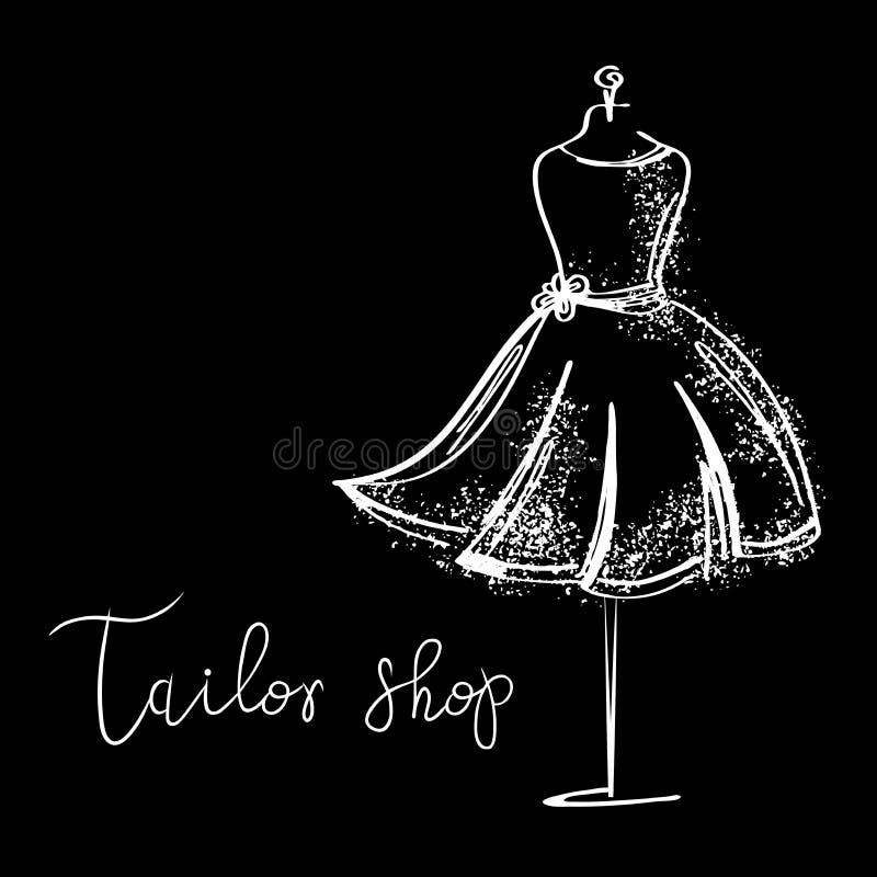 Estudio de Logo Fashion Caligrafía hecha a mano de encargo, letras del cepillo del vector para el salón de la moda stock de ilustración