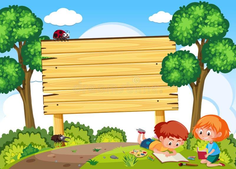 Estudio de los niños en naturaleza y letrero libre illustration