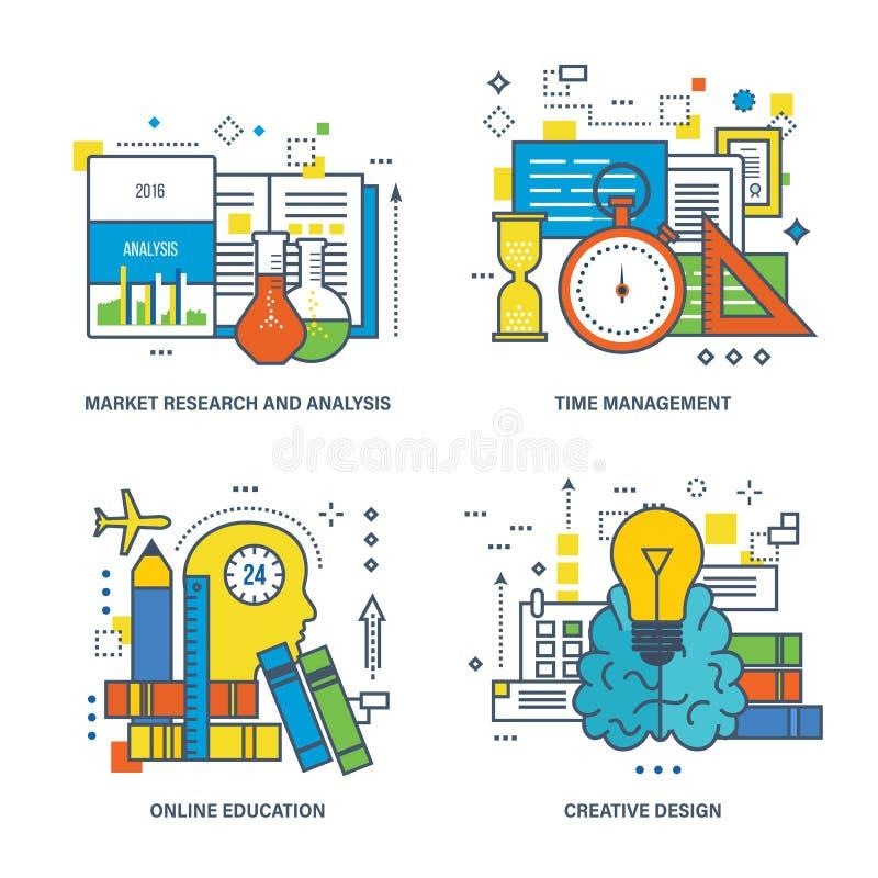 Estudio de mercados y análisis, gestión de tiempo, educación en línea, diseño creativo ilustración del vector
