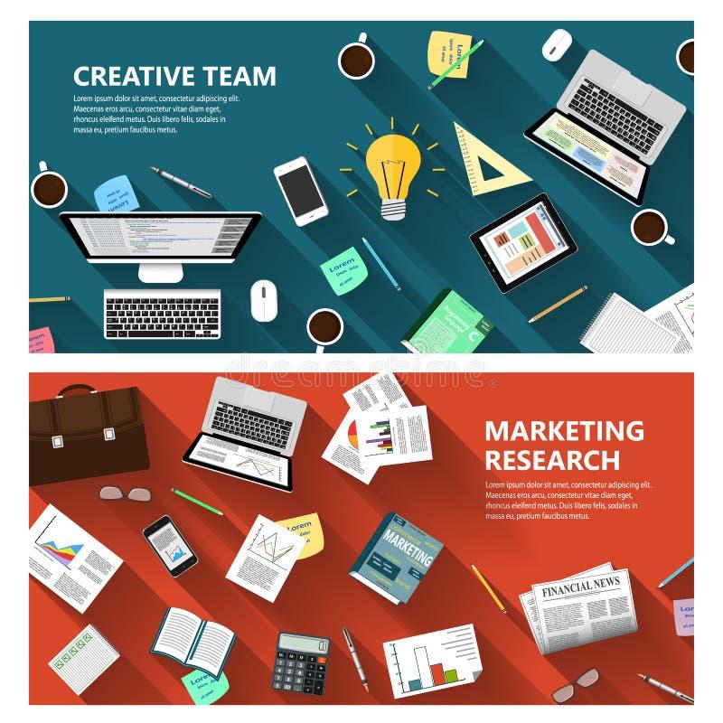 Estudio de mercados y concepto creativo del equipo libre illustration